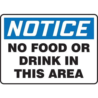 Accuform Signs® 10 x 14 Adhesive Vinyl Housekeeping Sign NOTICE NO FOOD.., Blue/Black On White
