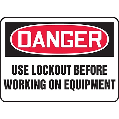 Accuform Signs® 7 x 10 Vinyl Safety Sign DANGER USE LOCKOUT BEFORE.., Red/Black On White