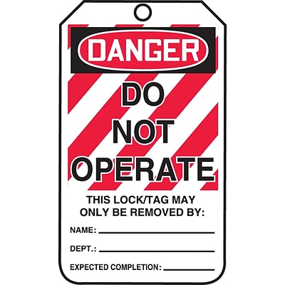 Accuform Signs® 5 3/4 x 3 1/4 PF-Cardstock Lockout Tag DANGER..OPERATE, Red/Black On White