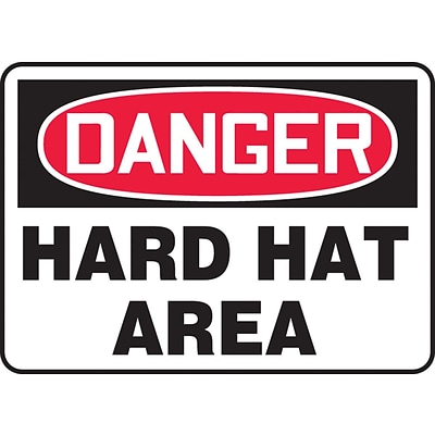 Accuform Signs® 7 x 10 Vinyl PPE Safety Sign DANGER HARD HAT AREA, Red/Black On White