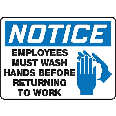 Accuform Signs® 7 x 10 Aluminum Housekeeping Sign NOTICE EMPLOYEES MUST.., Blue/Black On White