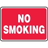 Accuform Signs® 7 x 10 Aluminum Smoking Control Sign NO SMOKING, White On Red