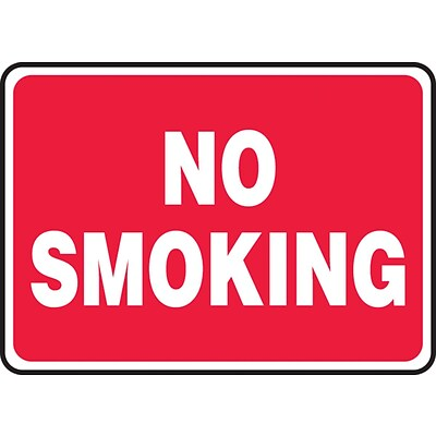 Accuform Signs® 10 x 14 Adhesive Vinyl Smoking Control Sign NO SMOKING, White On Red