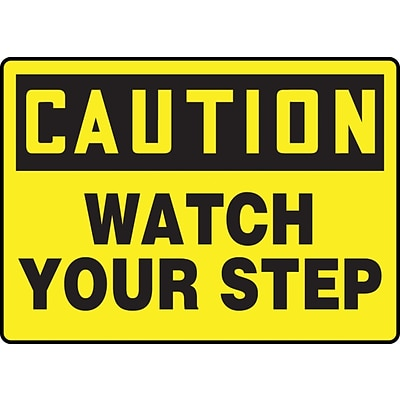 Accuform Signs® 7 x 10 Adhesive Vinyl Fall Arrest Sign CAUTION Watch Your Step, Black On Yellow