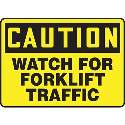 Accuform Signs® 10 x 14 Vinyl Safety Sign CAUTION WATCH FOR FORKLIFT TRAFFIC, Black On Yellow