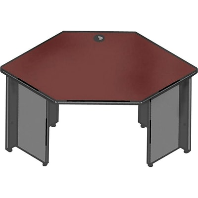 Lorell 67000 Series in Mahogany/Charcoal, Corner Desk