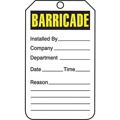 Accuform Signs® 5 3/4 x 3 1/4 PF-Cardstock Barricade Tag BARRICADE, Yellow/Black On White