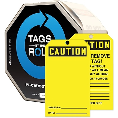 Accuform Signs® 6 1/4 x 3 Cardstock Tags By-The-Roll  CAUTION.., Black On Yellow, 250/Roll