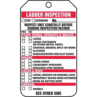 Accuform Signs® 5 3/4 x 3 1/4 PF-Cardstock Ladder Status Tag LADDER.., Red/Black On White