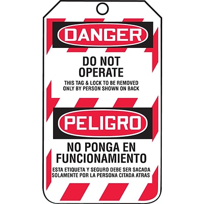 Accuform Signs® 5 3/4 x 3 1/4 PF-Cardstock Bilingual Lockout Tag DANGER DO.., Red/Black On White