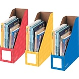 Bankers Box Classroom Magazine File Organizers, 4-Inch, Red, Blue and Yellow, 3 Pack