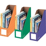 Bankers Box Classroom Magazine File Organizers, 4-Inch, Purple, Green and Orange, 3 Pack