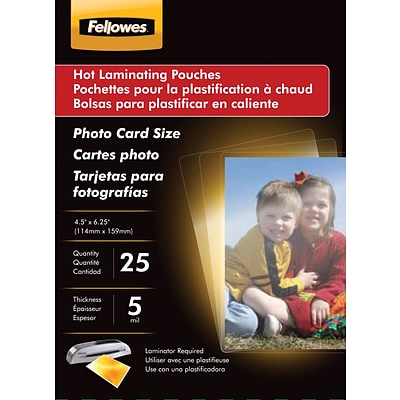 Fellowes Photo Size Thermal Laminating Pouches, 5 mil, 25 pack