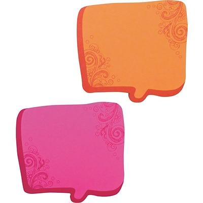 Thought Bubble Notes, 2 3/4 x 2 3/4, Magenta/Orange, 75-Sheet Pads, 2-Pads/ST