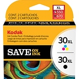 Kodak 30BXL/30CXL Black and Tri-color High Yield Ink (8257131), Multi-pack (2 cart per pack)