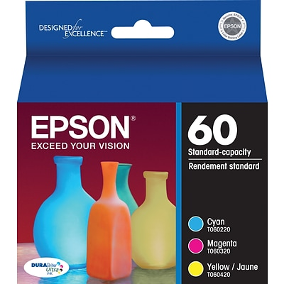 Epson 60 Color C/M/Y Ink Cartridges (T060520-S), Combo Multi-pack (3 cart per pack)
