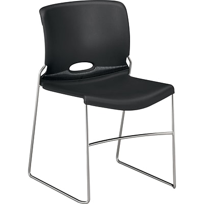 HON Olson Stacking Chair, Onyx, 4/Pack