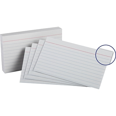 Oxford® Heavy Weight Ruled Index Cards; 3x5, 100/Pack