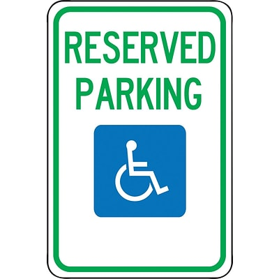 Accuform Signs® 18 x 12 Aluminum Federal Sign RESERVED PARKING W/GRAPHIC, Green/Blue On White