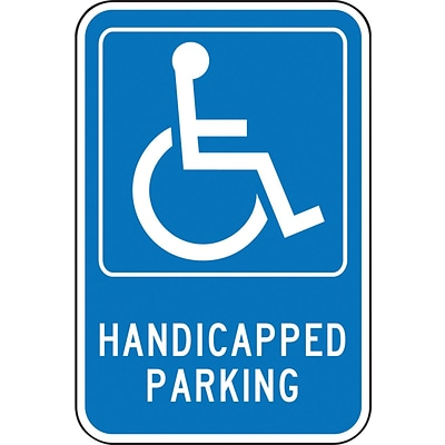 Accuform Signs® 18 x 12 Aluminum Federal Sign HANDICAPPED PARKING W/GRAPHIC, White On Blue