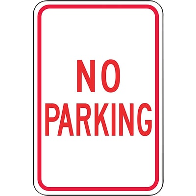 Accuform Signs® 18 x 12 Reflective Aluminum Parking Sign NO PARKING, Red On White