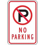 Accuform Signs® 18 x 12 Reflective Aluminum Parking Sign (SYMBOL) NO PARKING, Black/Red On White