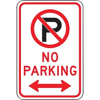 Accuform Signs® 18 x 12 Reflective Aluminum Parking Sign NO PARKING, Black/Red On White