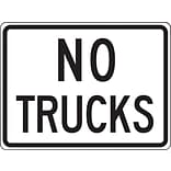 Accuform Signs® 18 x 24 Reflective Aluminum Facility Traffic Sign NO TRUCKS, Black On White