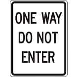 Accuform Signs® 24 x 18 Reflective Aluminum Facility Traffic Sign ONE WAY DO.., Black On White