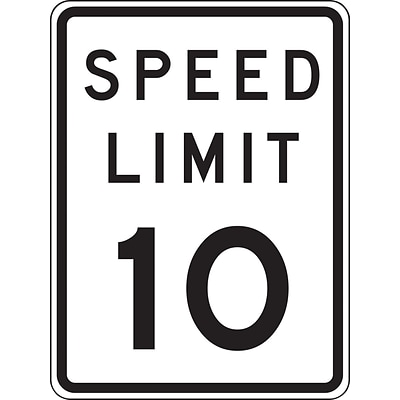 Accuform Signs® 18 x 12 Prismatic Aluminum Speed Limit Sign SPEED LIMIT 10, Black/Gray On White