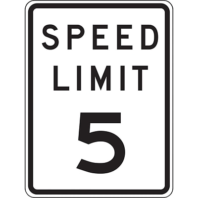 Accuform Signs® 18 x 12 Prismatic Aluminum Speed Limit Sign SPEED LIMIT 5, Black/Gray On White