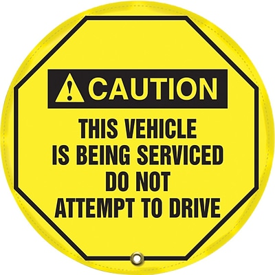 Accuform Signs® 20 Steering Wheel Message Cover CAUTION THIS VEHICLE IS BEING.., Black On Yellow