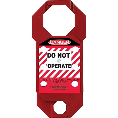 Accuform Signs® 7 x 3.125 Aluminum Double Cross Hasp DANGER DO NOT.., White/Black On Red