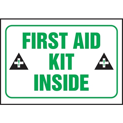 Accuform Signs® 3 1/2 x 5 Adhesive Vinyl Safety Label FIRST AID.., Green/Black On White, 5/Pack