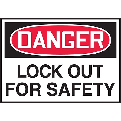 Accuform Signs® 3 1/2 x 5 Adhesive Vinyl Safety Label DANGER LOCK.., Red/Black On White, 5/Pack