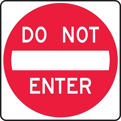 Accuform Signs® 24 x 24 Reflective Aluminum Lane Guidance Sign DO NOT ENTER, Red On White