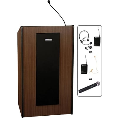 AmpliVox® Presidential Lecterns Wireless, Medium Oak