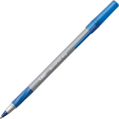 BIC Round Stic Grip Xtra Comfort Ballpoint Pens, Fine Point (0.8mm), Blue, 432/Ct (GSFG11BECt)