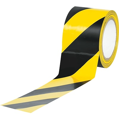 Tape Logic™ 3 x 36 yds. Striped Vinyl Safety Tape, Black/Yellow, 3/Pack