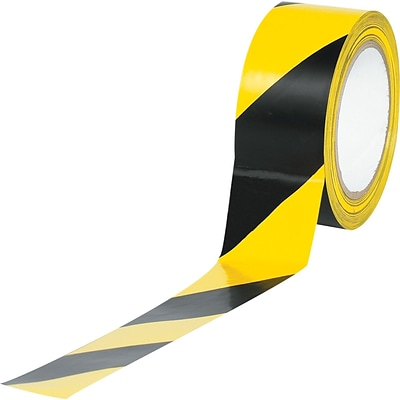 Tape Logic™ 2 x 36 yds. Striped Vinyl Safety Tape, Black/Yellow, 3/Pack