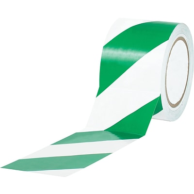 Tape Logic™ 3 x 36 yds. Striped Vinyl Safety Tape, Green/White, 3/Pack