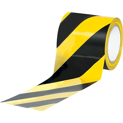 Tape Logic™ 4 x 36 yds. Striped Vinyl Safety Tape, Black/Yellow, 12/Case