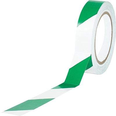 Tape Logic™ 1 x 36 yds. Striped Vinyl Safety Tape, Green/White, 48/Case