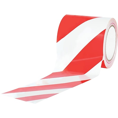 Tape Logic™ 4 x 36 yds. Striped Vinyl Safety Tape, Red/White, 12/Case