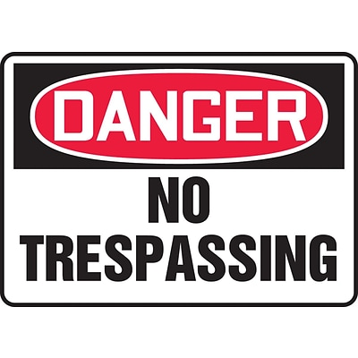 Accuform Signs® 7 x 10 Aluminum Safety Sign DANGER NO TRESPASSING, Red/Black On White