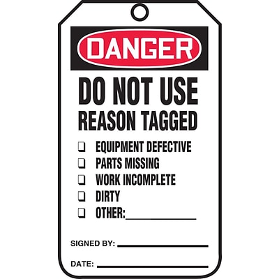 Accuform Signs® 5.75 x 3.25 PF-Cardstock Safety Tag DANGER..REASON TAGGED, Red/Black On White
