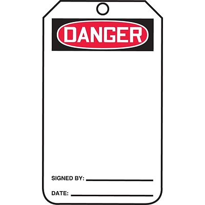 Accuform Signs® 5 3/4 x 3 1/4 Plastic Blank Front & Back Tags DANGER.., Red/Black On White