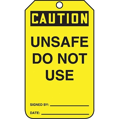 Accuform Signs® 5 3/4 x 3 1/4 PF-Cardstock Safety Tags CAUTION UNSAF.., Black On Yellow