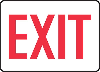 "Accuform Signs® 7"" x 10"" Plastic Safety Sign ""EXIT"", Red On White"