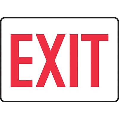Accuform Signs® 7 x 10 Adhesive Vinyl Safety Sign EXIT, Red On White
